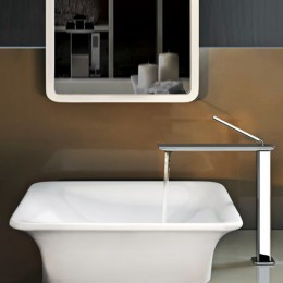 """Deck-mounted washbasin """"iSpa"""" by Gessi in white europe ceramic (49x45 cm)"""