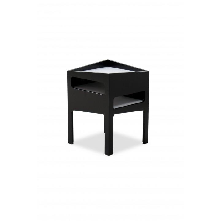 Tavolino modello Trick colore nero con ripiani grigi