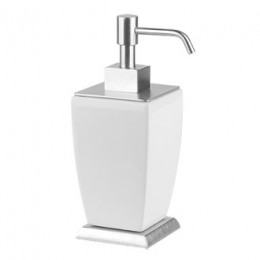 "Standing soap dispenser in white ceramic ""Mimì"" by Gessi chrome"