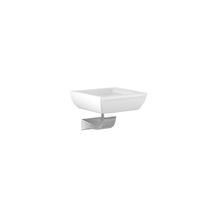 """White ceramic wall mounted soap holder """"Mimì"""" by Gessi chrome"""