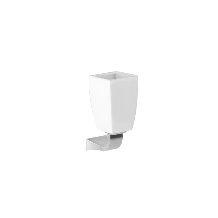 """Wall mounted tumbler holder in white ceramic """"Mimì"""" by Gessi chrome"""