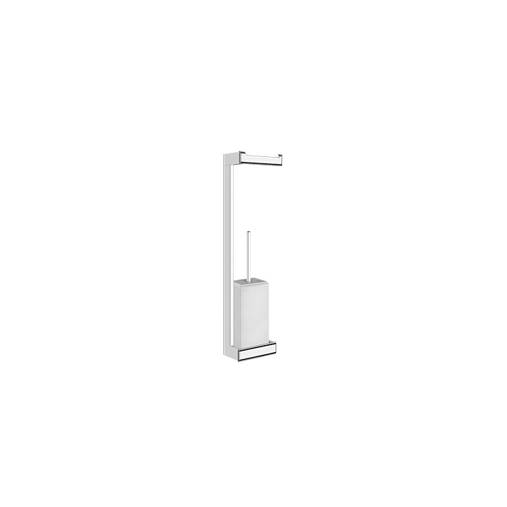 Wall mounted column with paper roll holder and brush holder Eleganza by Gessi chrome