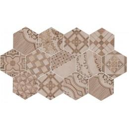 Clays 21x18,2 Marazzi decoro cementine caldo piastrella esagonale in gres porcellanato earth+sand+shell