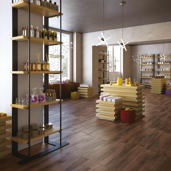 Wood effect tile Treverkmood Marazzi col. mahogany (15x90 cm) for livingroom