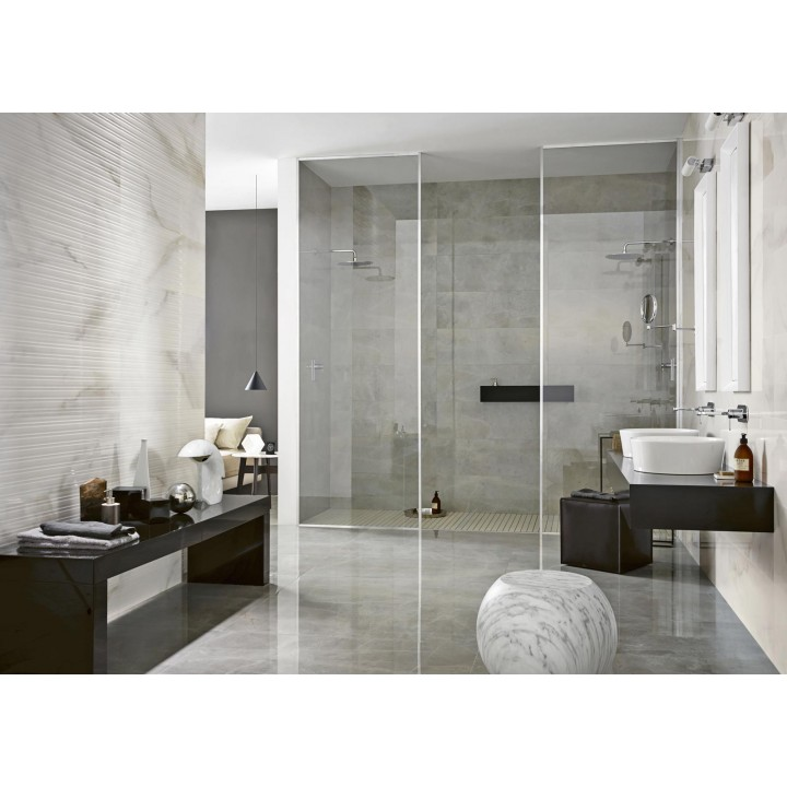 "Wall white paste tile ""Evolutionmarble"" Marazzi col.onyx (32.5x97.7 cm) for bathroo"