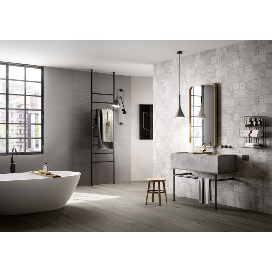Materika 40x120 by Marazzi rectified satin concrete effect wall tiles