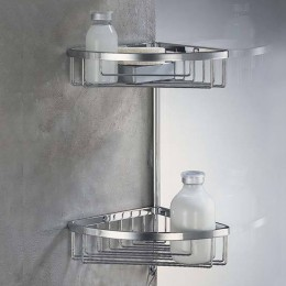 Double corner basket with hook (cm 24,5 ) chrome for shower