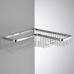 Single corner basket with stainless steel shelf h for shower (cm 28 ) chrome