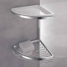 Angolare doppio per doccia con cestino, vaschetta e gancio (cm 18 ) cromo