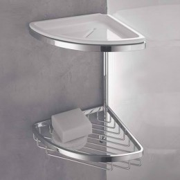 Double corner basket with bowl and hook dish for shower (18 cm) chrome