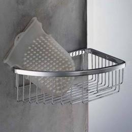 Single corner basket for shower (cm 24,5 ) chrome