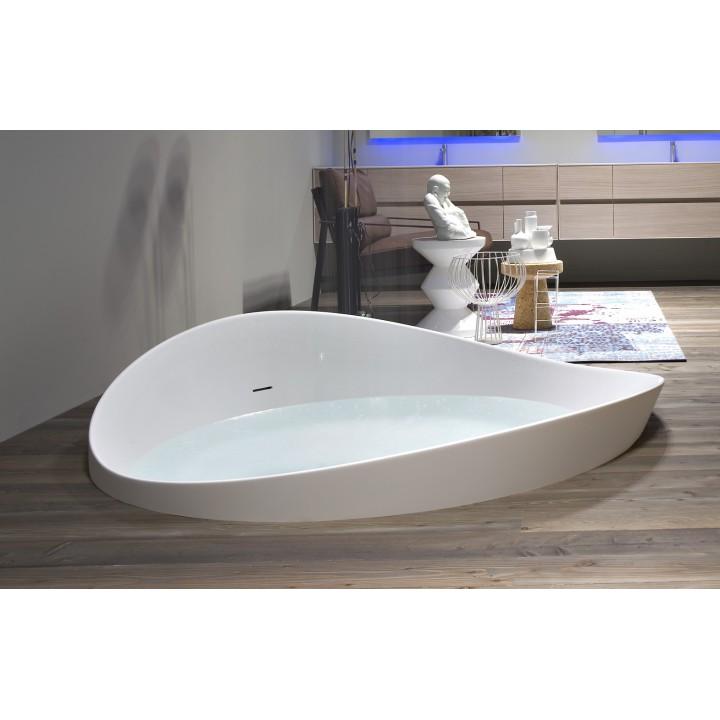 Vasca da bagno tonda a semincasso in Cristalplant di modello Dune di  Antonio Lupi