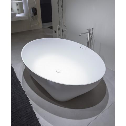 Vasca da bagno ovale in Cristalplant di modello Solidea di Antonio Lupi