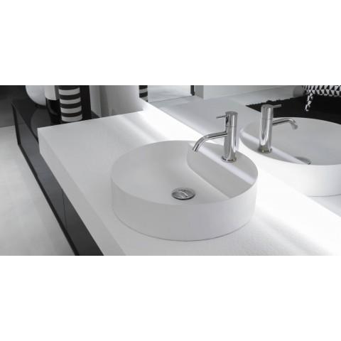 Lavabo tondo soprapiano in Flumood modello Simplo di Antonio Lupi
