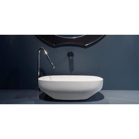 Lavabo ovale soprapiano in Flumood modello Ago di Antonio Lupi