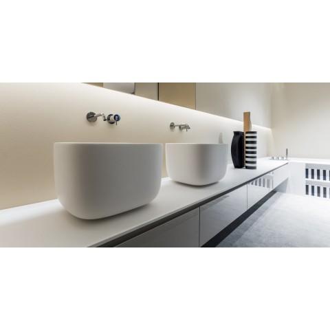 Lavabo rettangolare soprapiano in Flumood modello Poggio di Antonio Lupi