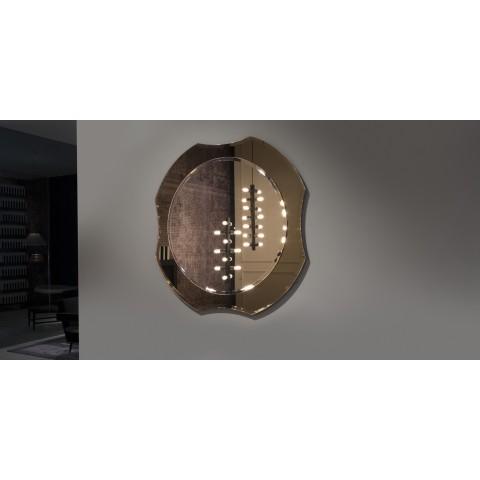 Specchio molato con cornice in cristallo modello Luxor di Antonio Lupi