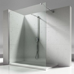 Separating wall for recessed shower tray Skin by Vismara cm.120 Bright silver