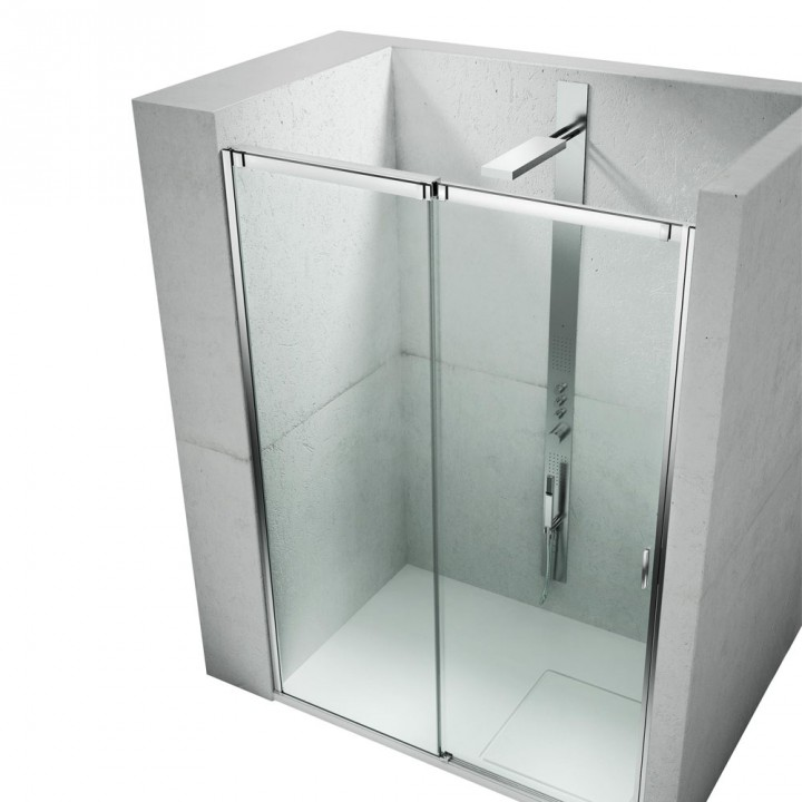 Frameless sliding shower enclosure for rectangular corner shower ...