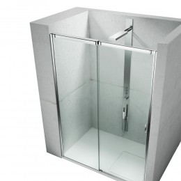 Frameless sliding shower enclosure for rectangular corner shower trays. S by Vismara Bright silver