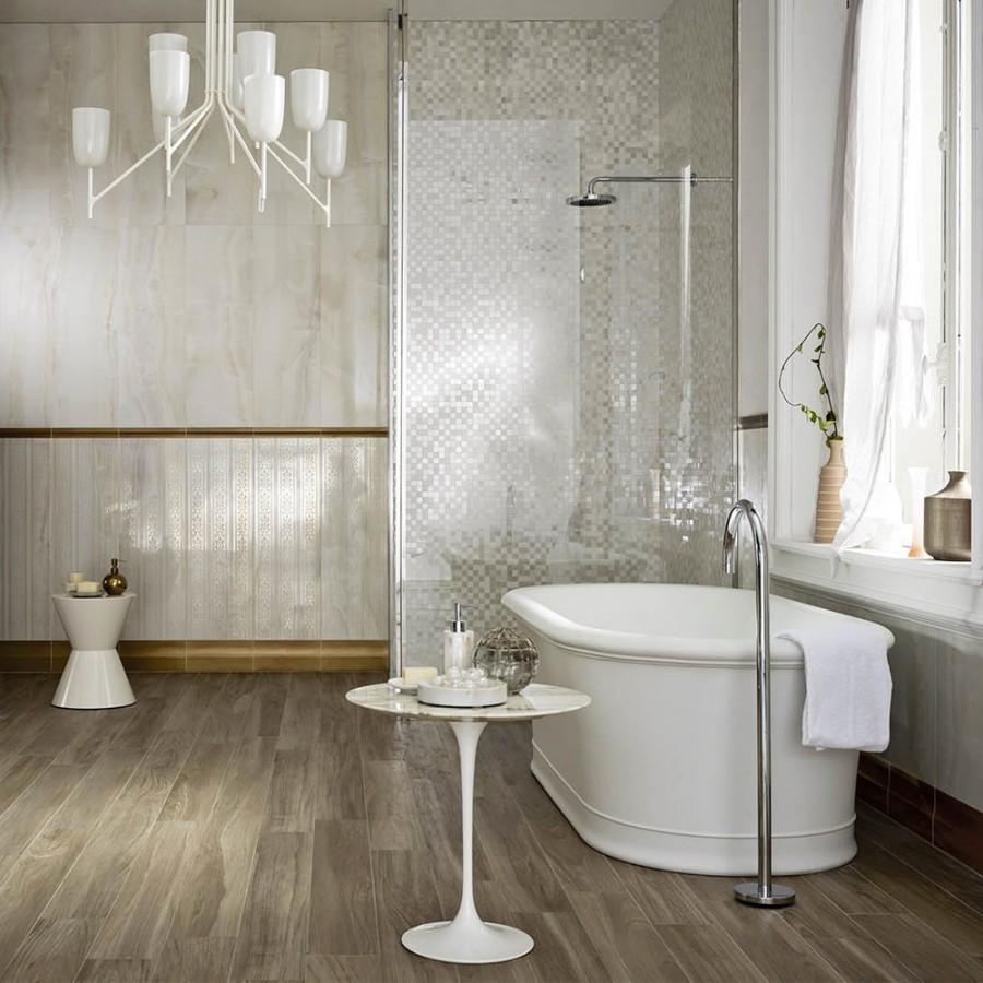 Mosaico su rete rivestimento evolutionmarble marazzi per for Piastrelle per bagno