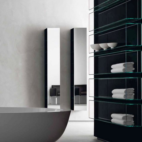 "Bath shelf with mirror and matt black frame ""Shy&light""by Rifra ( 27x18x185 cm)"