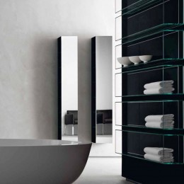 "Bath shelf with mirror and matt black frame ""Shy&light""by Rifra ( 27x18x185 cm)"